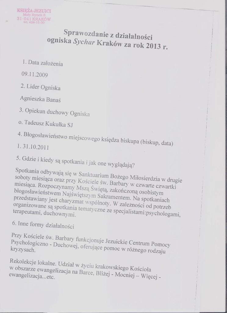 sprawozdanie 2013 Kraków str. 1